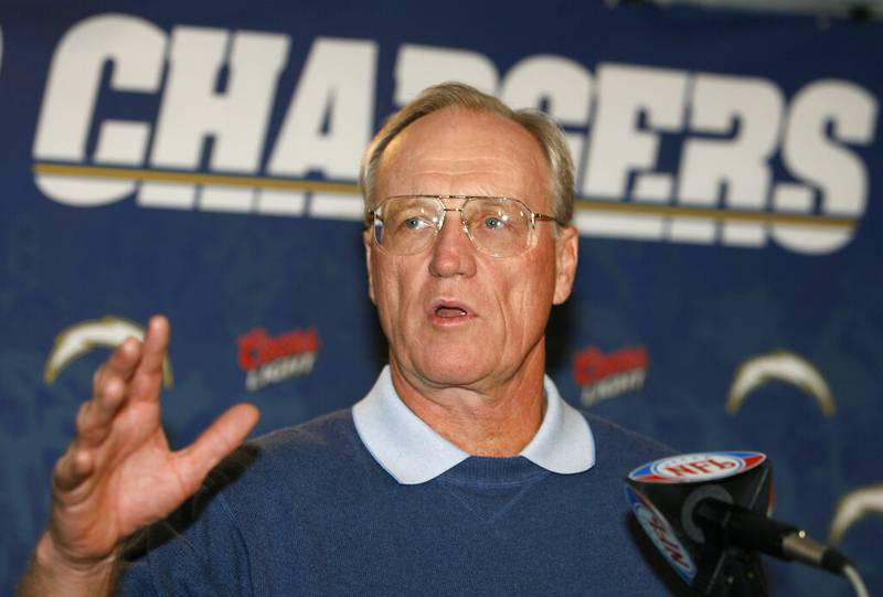 FILE - San Diego Chargers head coach Marty Schottenheimer answers a question at a news conference in San Diego, in this Wednesday, Jan. 17, 2007, file photo. Schottenheimer died Monday night, Feb. 8, 2021,  at a hospice in Charlotte, North Carolina.